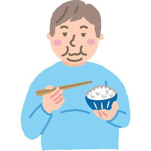 大盛りのご飯を食べる肥満男性のイラスト素材 [FYI03060688]