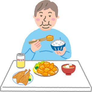 揚げ物を食べる肥満男性のイラスト素材 [FYI03060689]