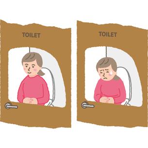 トイレで便秘に悩む女性のイラスト素材 [FYI03060690]