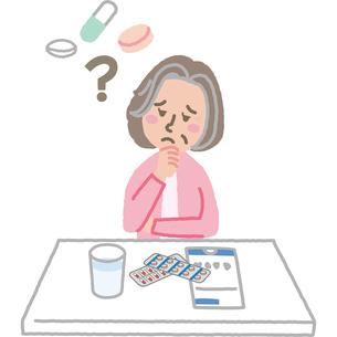薬を飲んだか忘れた高齢女性のイラスト素材 [FYI03060692]
