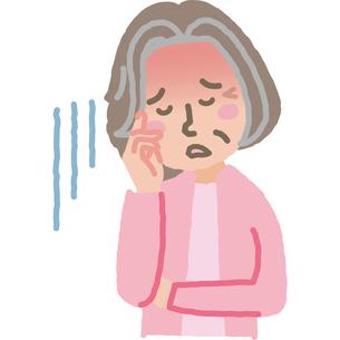 熱が出て具合の悪い高齢女性のイラスト素材 [FYI03060706]