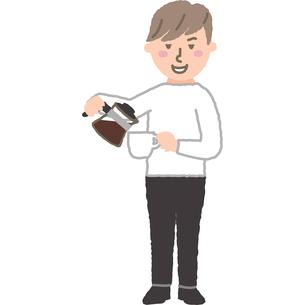 カフェの店員さんのイラスト素材 [FYI03060707]