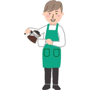カフェの店員さんのイラスト素材 [FYI03060708]