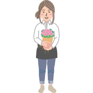 お花屋さんの女性のイラスト素材 [FYI03060721]