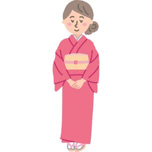着物を着た女性のイラスト素材 [FYI03060723]