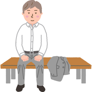 ベンチに座るサラリーマンのイラスト素材 [FYI03060726]