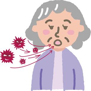 ウイルスと高齢女性のイラスト素材 [FYI03060729]