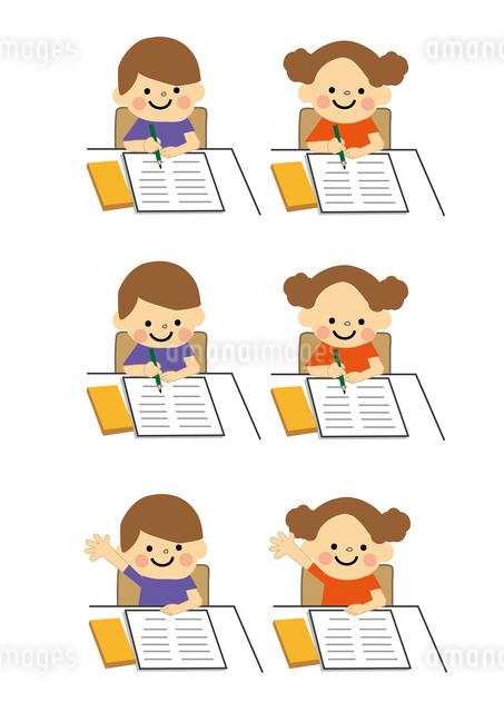 男の子と女の子 学習のイラスト素材 [FYI03060800]