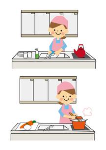 家事をする女性のイラスト素材 [FYI03060803]