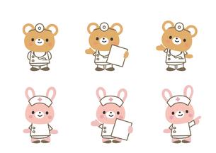 医療イメージ クマの医師とウサギの看護師のイラスト素材 [FYI03060806]