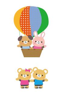 気球に乗った動物たちのイラスト素材 [FYI03060818]