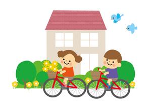 自転車の子どもと家のイラスト素材 [FYI03060820]