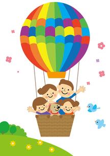 気球に乗った家族のイラスト素材 [FYI03060821]