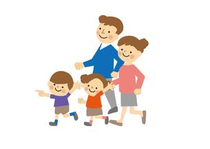 家族おでかけ 歩くのイラスト素材 [FYI03060822]