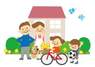 家族と家のイラスト素材 [FYI03060823]
