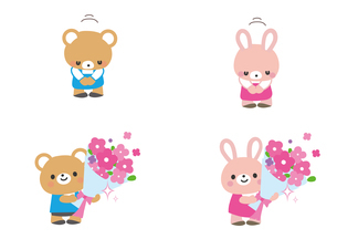 お辞儀と花束 クマ君とウサギさんのイラスト素材 [FYI03060831]
