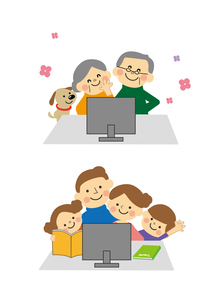 パソコンを囲む家族と高齢者のイラスト素材 [FYI03060832]