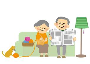 ソファーにすわる高齢者夫婦のイラスト素材 [FYI03060839]