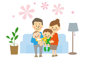 ソファーにすわる家族のイラスト素材 [FYI03060840]