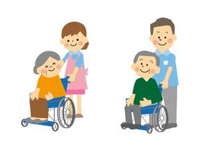 車椅子の高齢者と介護士のイラスト素材 [FYI03060858]