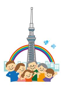 東京スカイツリーと家族のイラスト素材 [FYI03060860]