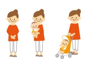 おかあさんと赤ちゃんのセットのイラスト素材 [FYI03060863]