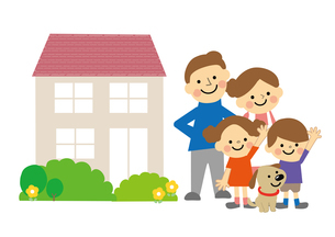 家族と家のイラスト素材 [FYI03060866]