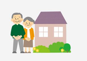 高齢者と家のイラスト素材 [FYI03060867]