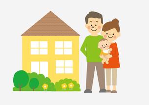 家族と家のイラスト素材 [FYI03060869]