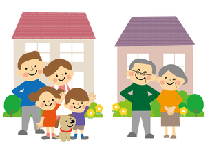 家と家族(二世代と高齢者夫婦)のイラスト素材 [FYI03060870]