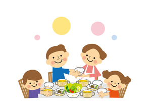仲良し家族(親子) 食事のイラスト素材 [FYI03060879]