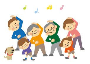 ラジオ体操をする三世代家族のイラスト素材 [FYI03060883]