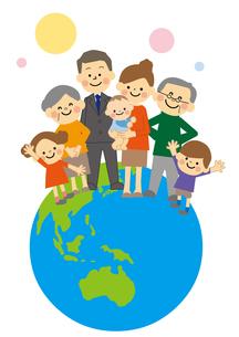 地球の上に立つ家族のイラスト素材 [FYI03060888]