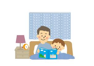 読み聞かせをするお父さんと子供のイラスト素材 [FYI03060889]