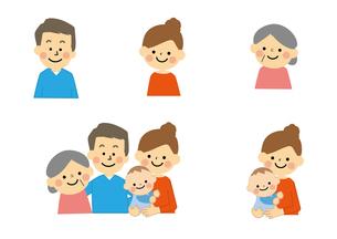 家族 赤ちゃんと高齢者のイラスト素材 [FYI03060899]