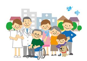 町と家族 看護と介護のイラスト素材 [FYI03060910]