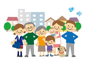 町と家族のイラスト素材 [FYI03060911]
