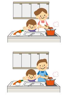 お料理をする男性と女性のイラスト素材 [FYI03060913]
