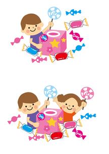 お菓子のつかみ取り お菓子と子どもたちのイラスト素材 [FYI03060915]