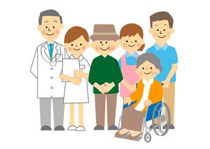 医者と介護士と高齢者夫婦のイラスト素材 [FYI03060963]