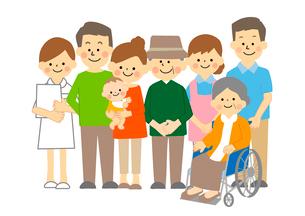 看護師と介護士と高齢夫婦と家族のイラスト素材 [FYI03060968]