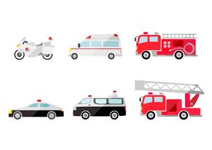 救急車と消防車とパトカーのイラスト素材 [FYI03060991]