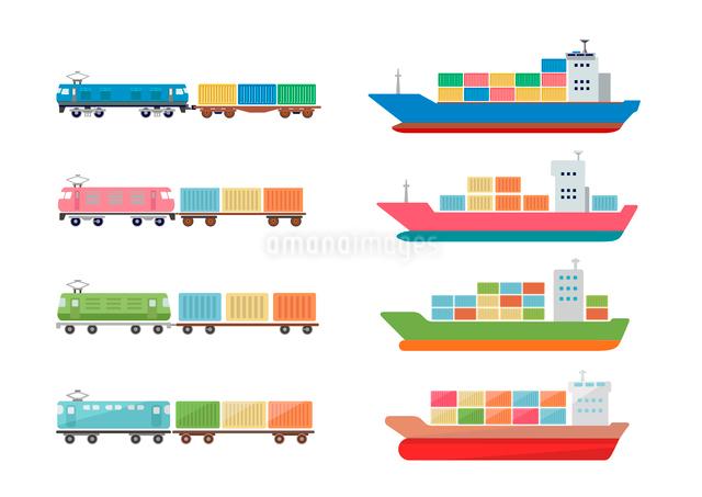 貨物船と貨物列車のイラスト素材 [FYI03060993]