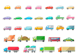 沢山の車のイラスト素材 [FYI03061021]