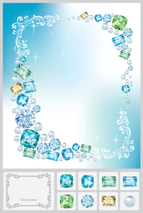 青い宝石とフレームのイラスト素材 [FYI03061048]