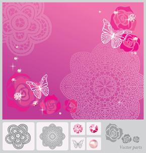 蝶とバラのコラージュのイラスト素材 [FYI03061075]