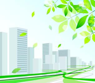 ビルの間を走るラインと新緑のイラスト素材 [FYI03061170]