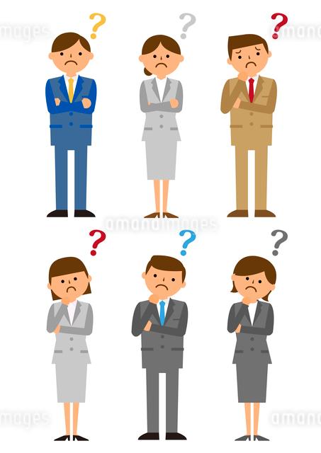 考えるビジネス集団男性女性のイラスト素材 [FYI03061217]