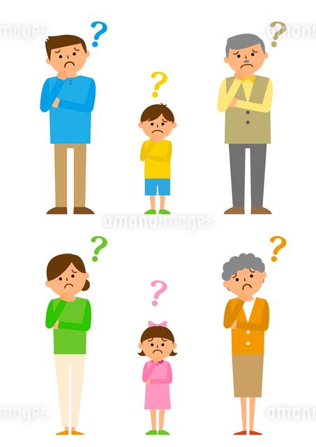 考える三世代家族のイラスト素材 [FYI03061223]