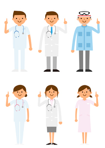 説明する病院で働く人たちのイラスト素材 [FYI03061240]